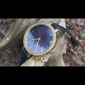 Navy Blue Hamsa Charm Gold Tone Fashion Watch